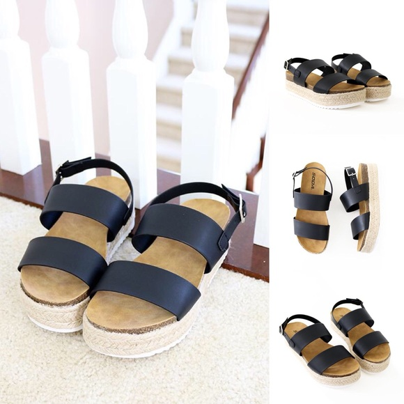 707fbbbc9e5 kazoo black sling back sandal flatform NWT